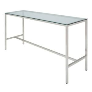 """72"""" Long Bar Table Solid Tempered Glass Top Brushed Stainless Steel Base"""