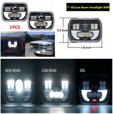 "7"" 90W Hi/Lo Beam LED Projector Sealed Driving SUV 4X4 Off-road Square Headlight"