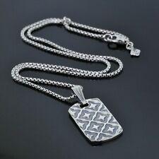 David Yurman Men's Sterling Silver Quatrefoil Dog Tag Pendant Box Chain Necklace