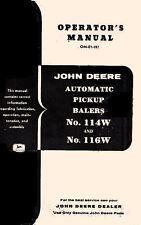 John Deere Automatic Pickup Hay Baler 114W 114-W 116W 116-W Operators Manual