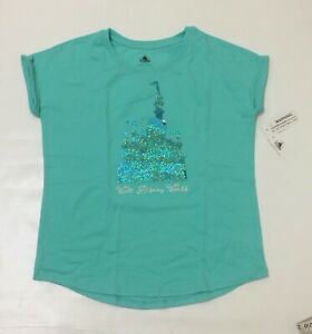 Walt Disney World Fantasyland Castle Reversible Sequin Girls kids t-shirt Sz XL