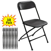 Set of 10 Commercial Wedding Stackable Black Plastic Folding Chairs