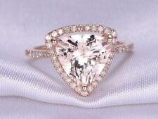 4Ct Trillion Pink Morganite Simlnt Diamond Halo Engagement Ring Rose Gold Silver