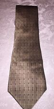 DKNY 100% Silk Light Brown Square Pattern Tie Made In Costa Rica