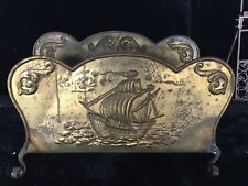 Antique Hand Forged Tin and Iron Gilt Embossed Ship Log Caddy - Likely English