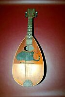 "Antique 24"" Multi-Colored Wood Mandolin - As-Is - Incomplete w/ Heavy Damage"