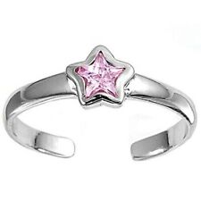 Cz Rhodium Plate Face Height 5 mm Star Toe Ring Genuine Sterling Silver 925 Pink