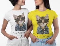 My Happy Face Ladies Cat T-shirt Women Girls White Daisy Tee Top Size S-2XL