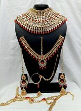 Wedding Indian Bridal Jewelry 7 PC Gold Plated Necklace Earring Set