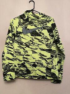Nike Unisex Size Youth XL Neon Green Black Hooded Jacket Lightweight