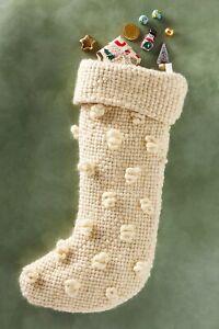 Anthropologie Textured Bobble Christmas Stocking Large Cream Ivory Hygge
