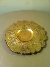 Vintage Footed Brass Holiday Wreath Ash Tray With Fruits And Ribbon-Christmas