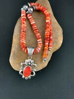 Mens Navajo Native Sterling Silver Red SPINY OYSTER Necklace Pendant Set 4783