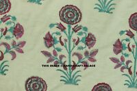 By Yard Indian Handmade Floral Print Fabric Hand Block Print Cotton Dress fabric