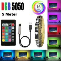 RGB LED Strip Lighting 5M Backlighting Computer Ambient Blue Green Red Pink TV
