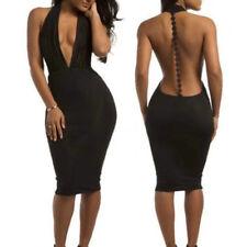BU_ Plunge Front Deep V-Neck Backless Women Sexy Halter Slim Bodycon Dress Cheap