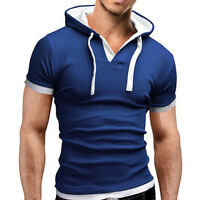 Mens Slim Fit V-neck Crew Neck T-shirt Short Sleeve Summer Casual Tee Top Blouse