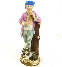 ANTIQUE MEISSEN PORCELAIN FIGURE SHEPHERD PLAYING PIPE DOG BESIDE 2722