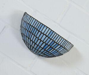 Tiffany Glas Lampe Wandlampe Wandleuchte 2 flammig Blau Vintage 50er Jahre RAR