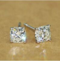 1Ctw Cushion-Cut Moissanite Solitaire Stud Earrings 14K White Gold Finish