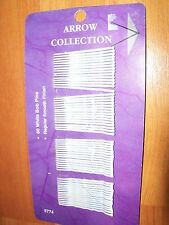 """Arrow White Bobby Pins Rubber Tipped 60 count Bridal Graduation Metal 1.75"""""""