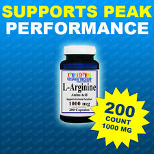 L-Arginine 1000mg/serving 200 Caps 3 Month Supply Made USA HIGHEST pharma Grade