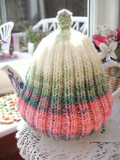 New Hand Knitted Striped Tea Cosy ~ Large Size