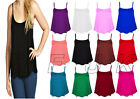 NEW LADIES GIRLS PLAIN SWING VEST TOP STRAPPY SLEEVELESS CAMI PLUS SIZE XL 2XL