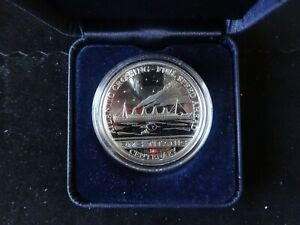 2012 SILVER PROOF COOK ISLANDS $5 COIN TITANIC 100th INSET WITH AUTHENTIC COAL