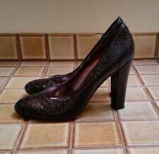 2029a4e02a1 Steve Madden Kewei Black Leather Faux Snakeskin Pumps Shoes Heels Size 8 M