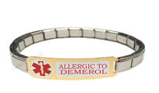 Allergic To Demerol 9mm Italian Charm Medical Alert Shiny Starter Bracelet