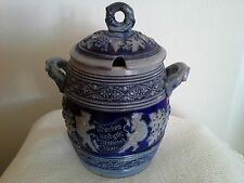 Vintage German Westerwald Saltglazed Blue Punch Cider Wine Bowl Tureen W.Lid