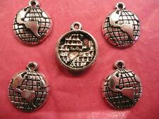 Tibetan Silver World/Globe Charm 5 Per Pack