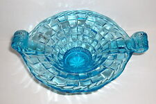 VTG HAND MADE AZURE BLUE ART GLASS 2 HANDLE CHECKERBOARD FOOTED BOWL CANDY DISH