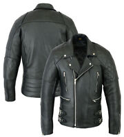 Mens Motorcycle Motorbike Real Cowhide Leather Brando Style CE Armoured Jacket