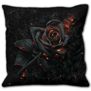 BURNT ROSE SQUARE SCATTER CUSHION SPIRAL GOTH FLAME OF LUST EMBERS THORNS ASHES