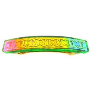 CHANEL CC Logos Hair Clip Hairpin Barrette Rainbow Plastic 97P France 60394