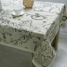 Map Pattern Tablecloth Cotton Linen Rectangle Table Cloth Cover Party Home Decor