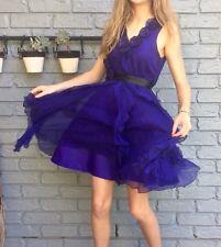 Silk Lined Dark Purple Size 12 Formal Dress M Flowing Floral Black