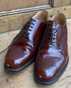 Grenson Feathermaster Perth Brogues Leather Shoes Chesnut  6373/19 Mens UK 9 G