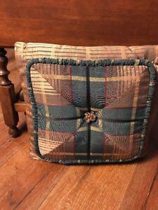 Vintage Throw Pillow Green Tarta Gold Plaid Button Ruffle Center Button 17x17