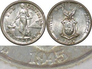 1945-D US/Philippines 10 Centavos ~ DOUBLED DIE REV. ~ AU+ ~ Allen#9.05c ~ X146