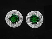 925 ECHT SILBER RHODINIERT *** Ohrstecker rund 8 mm,  Zirkonia smaragd grün