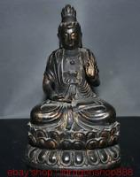 """9.2 """"Ancien Bouddhisme Chinois En Bronze Doré Guan Yin Déesse Base Sculpture"""