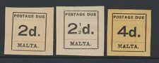 Malta - 1925, 2d, 2 1/2 D y 4d franqueo debido Sellos-M/M-SG D4, D5, D7