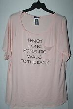 NEW WOMENS PLUS SIZE 3X PINK I ENJOY ROMANTIC WALKS TO THE BANK RAGLAN SHIRT TOP