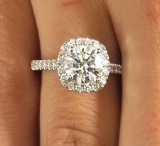 1.86 CT ROUND CUT D/VS2 DIAMOND SOLITAIRE ENGAGEMENT RING 18K WHITE GOLD