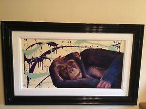 Simon Wright Original Chimp Acrylic on board, Framed, Free UK Delivery