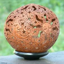 Coconut Shell Sculpture with Stand Hand Carved 'Moon and Stars' NOVICA Bali
