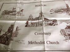 Vintage Cotton Tea Towel Boston Centenary Methodist Church Unused
